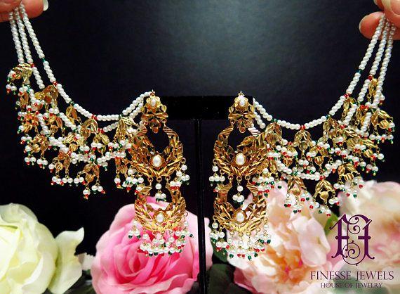 Hyderabadi Earrings Jadau Navrattan Jewelry,Pakistani Chandbali