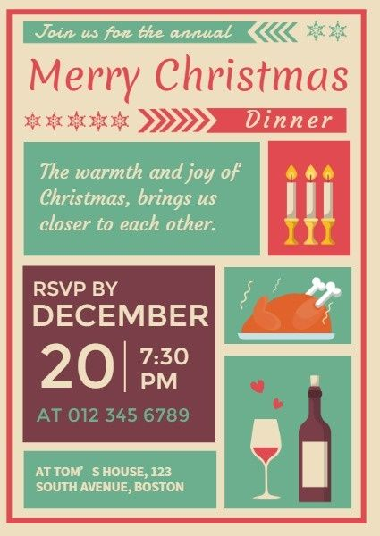 Online Christmas Dinner With Family Invitation Template Fotor