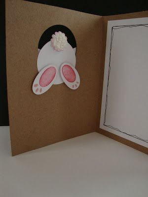 Omg cute and easy. Circle punch, Cricut Doiley or flower embossed for tail, and oval for feet. Circle punch for head, oval for ears, mini heart punch for nose. Cute card!