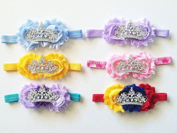 Disney Princess inspired baby headband with shabby by CamysCorner, $13.50