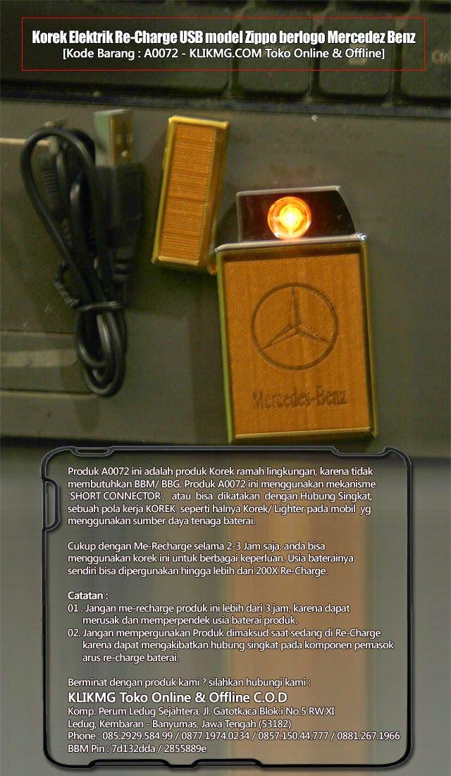 Korek Elektrik Re-Charge USB model Zippo berlogo Mercedez Benz - Kode Barang : A0072