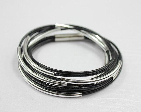 925 sterling silver bangle bracelet black leather by Showrist, $38.00