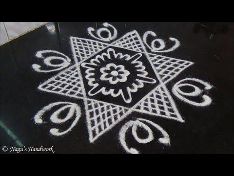 Star Rangoli Design-Rangoli Design For Beginners By Nagu's Handwork