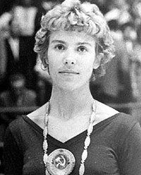 Larisa Latynina, Soviet gymnast, winner of the most medals of any athlete, male or female, in Olympic history:  9 Gold, 5 Silver, 4 Bronze.