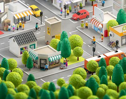 """Podívejte se na tento projekt @Behance: """"3d city"""" https://www.behance.net/gallery/16479195/3d-city"""