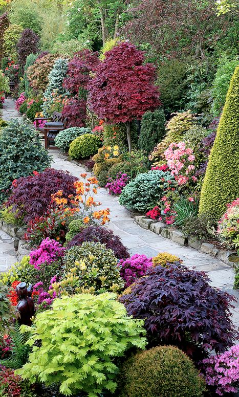 Spring upper garden at the Four Seasons Garden in Walsall in West Midlands, England • photo: Marie and Tony Newton / Four Seasons Garden on Flickr