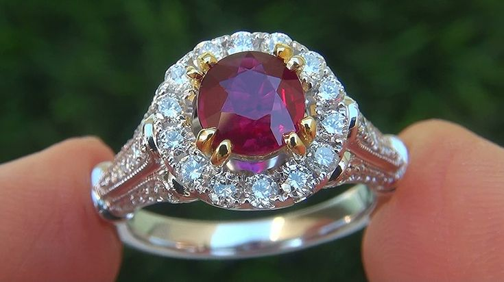 A Gorgeous GIA Certified 1.94 Carat Natural Ruby & Diamond Solid 18k White & Yellow Gold Engagement Cocktail Ring. As noted in the GIA Certification, this world class ruby specimen is unheated with the most sought after Single Hue Red color found only in the finest of genuine rubies. Unheated rubies are among the most prized rubies in the world. The one of a kind 1.20 carat genuine ruby is set with a generous 0.74 carats of GIA Evaluated fine quality VS1-SI1 clarity colorless to near…