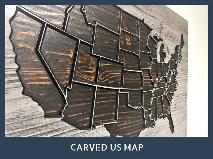 Wooden Us Map Home Wall Decor Business Decor Wood Wall Art United