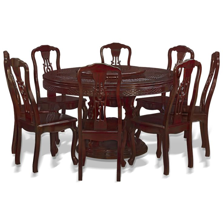 54in Rosewood Chinese Coin And Clouds Motif Round Dining Table With 8 Chairs