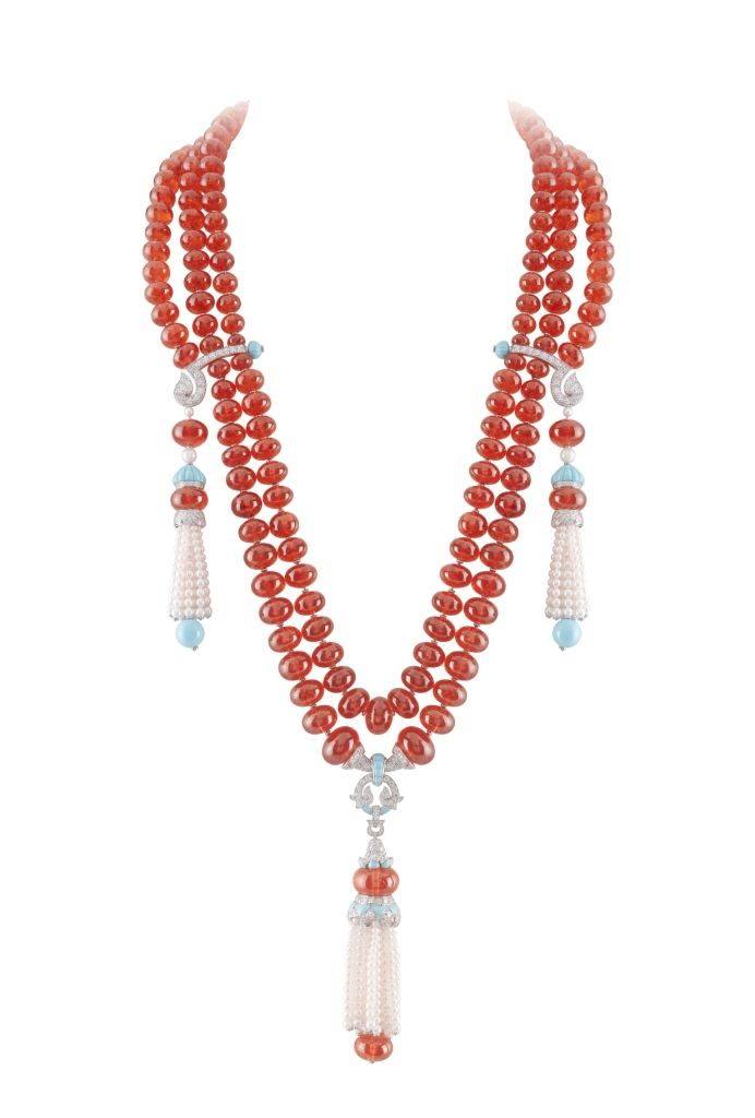 Van Cleef and Arpels coral, pearl and diamond necklace