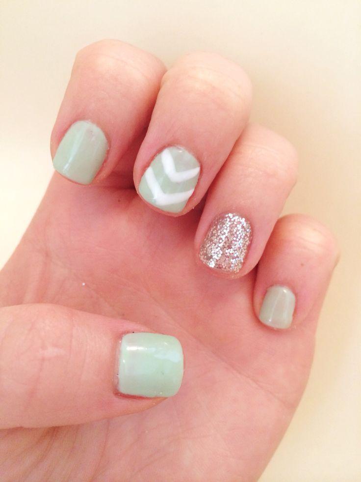 Spring summer nails 2014 chevron glitter accent nail mint green white silver