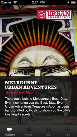 Melbourne Urban Adventures Treasure mApp - if you've got an iphone then download this bad boy. You can use it to navigate around or just wander yourself spontaneously and we'll let you know when you're near something we like. It works offline. Essential to the Best. Day. Ever.