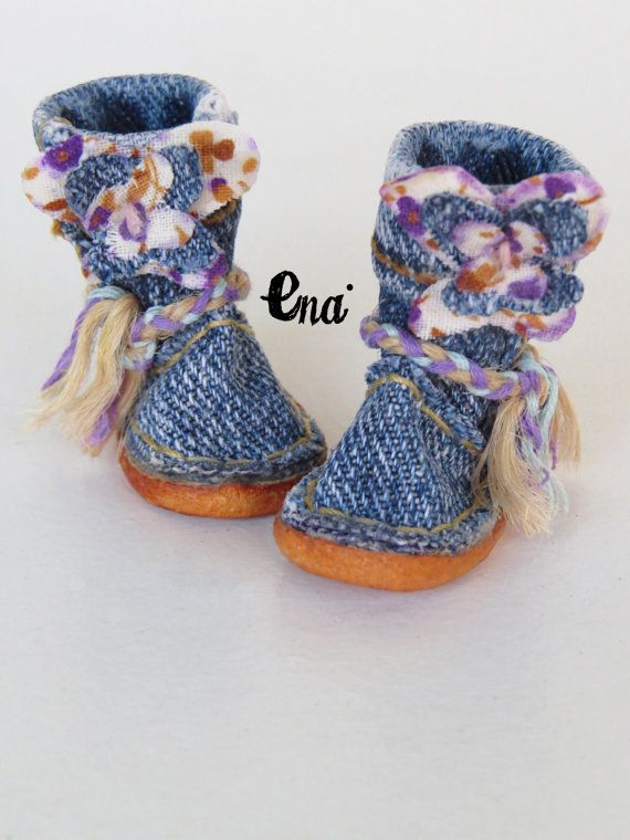 New BUTTERFLIES TEX. Jeans cloth and leather boots by EnaEnamorada