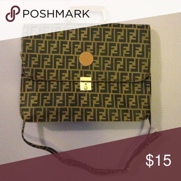 Fendi purse for sale! Tan and dark brown gently used Fendi purse with gold accents Fendi Bags Shoulder Bags