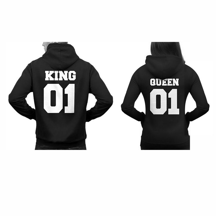 Winter Women/Men Matching Couple lover Hoodies King Queen Sweatshirt Unisex Clothes Black