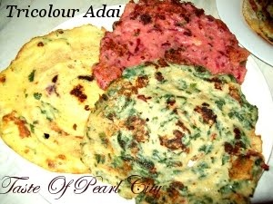 Tri-color Adai: -- Adai is a typical South Indian Cuisine,it's a type of pancake made with rice and lentils. Adai by itself is a rich source of carbohydrates and protein. This Tri-color Adai is made with spinach and beet-root. Click on the Image for Recipe: - Ingredients and Method.