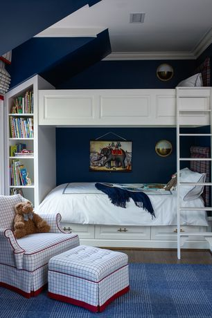 Traditional Kids Bedroom with Built-in bookshelf, Wall sconce, Crown molding, Carpet, Bunk beds, High ceiling