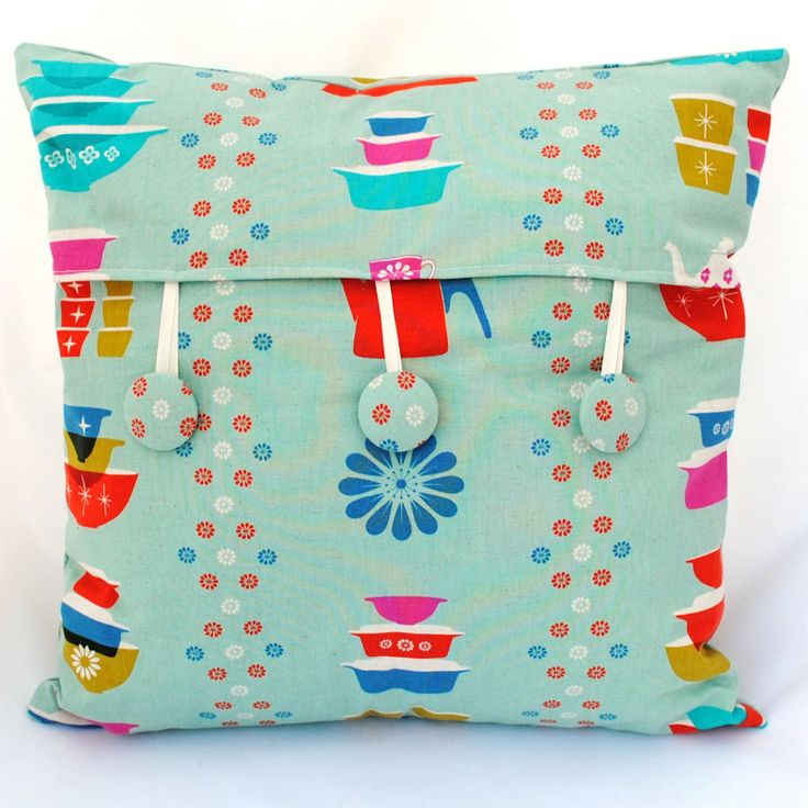 Happy Dishes Kokka japanese fabric cushion cover with buttons...all available from SewSister :)