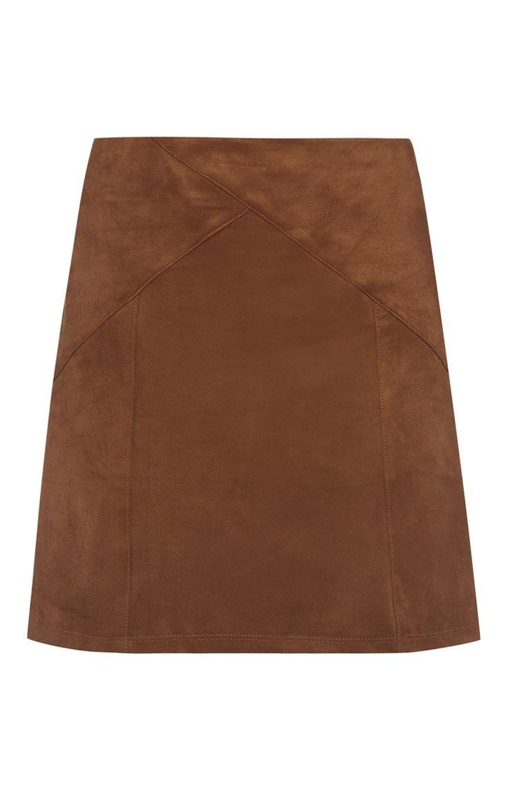 Primark - Brown Suede Leatherette Skirt
