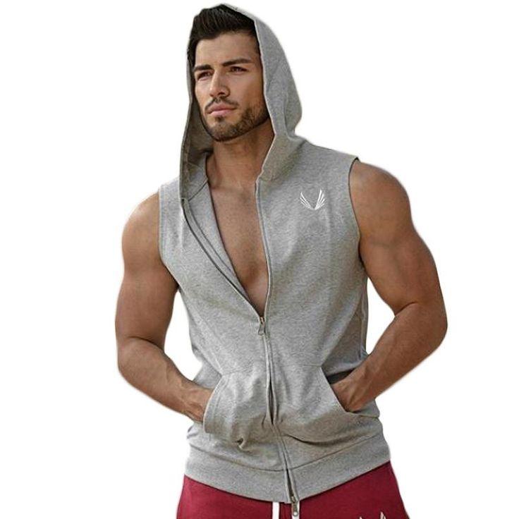 Men Hooded sleeveless undershirt cotton Man vest waistcoat sleeveless tank top mens Workout fitness hoodies sweatshirts Man