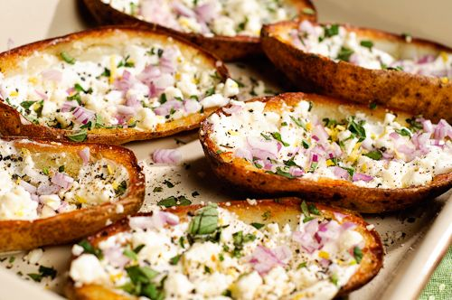 Greek style potato skins @sara wykoff Super Bowl.