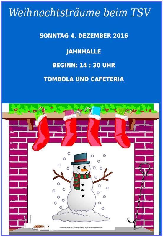 Einladung zur Weihnachtsfeier des TSV Jöhlingen: Die Vorbereitungen der einzelnen Gruppen für den spannenden Auftritt auf der Bühne sind in vollem Gange. Auch der Nikolaus ist zur Feier eingeladen und hat sein Kommen bestätigt. Wir möchten die Eltern, Großeltern, Verwandten, Freunde und Gönner des TSV Jöhlingen zu der Feier recht herzlich einladen.