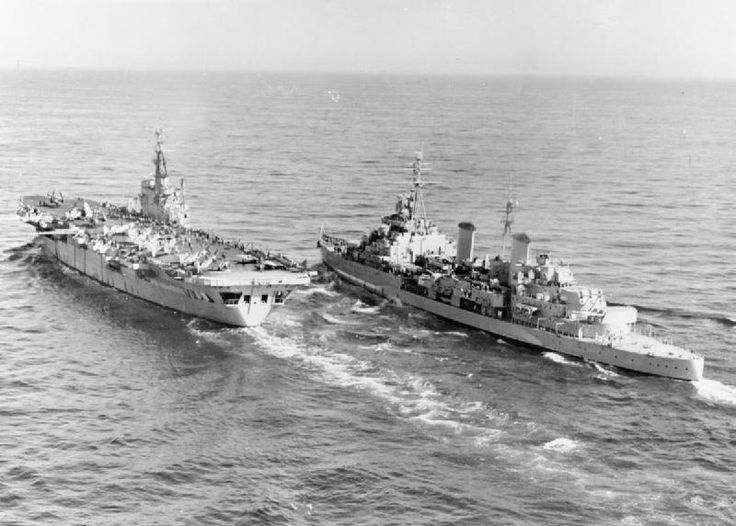 HMS Belfast (C35) and HMS Ocean (R68) during the Korean War 1950-1953. Both were WWII ships. (google.image) 10.17 #2/2