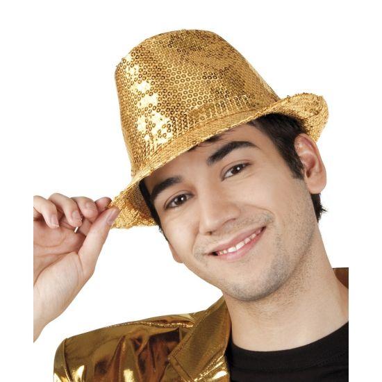 Glitter & Glamour themafeest: Hoed met gouden pailletten. Hoed met gouden pailletten voor volwassenen. Maat: 59.