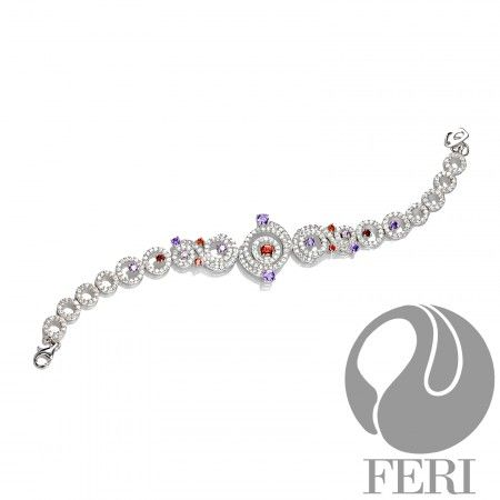 The Duchess - Bracelet    - 0.5 micron natural rhodium plating  - Set with AAA white cubic zirconia, amethyst and garnet cubic zirconia  - Part of the FERI Bridal Lines https://www.globalwealthtrade.com/vdm/display_item.php?referral=stephjames&category=66&item=5516&cntylng=&page=2