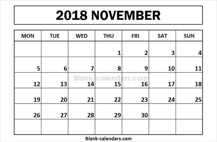 printable november 2018 calendar monday start