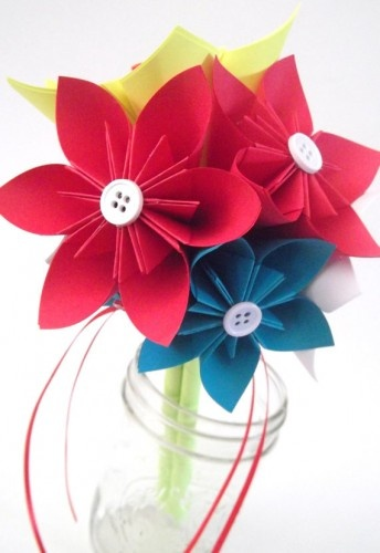 Handmade Wedding Paper Flower Bouquet Red White Yellow Blue | Danamazing1221 - Wedding on ArtFire