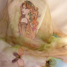 """Etole écharpe foulard en mousseline de soie peint main  fée """" luna """""""