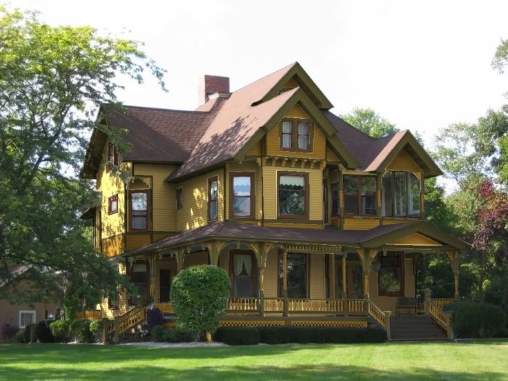 House, Yellow House Exterior Color Schemes With Brown Roof And ...
