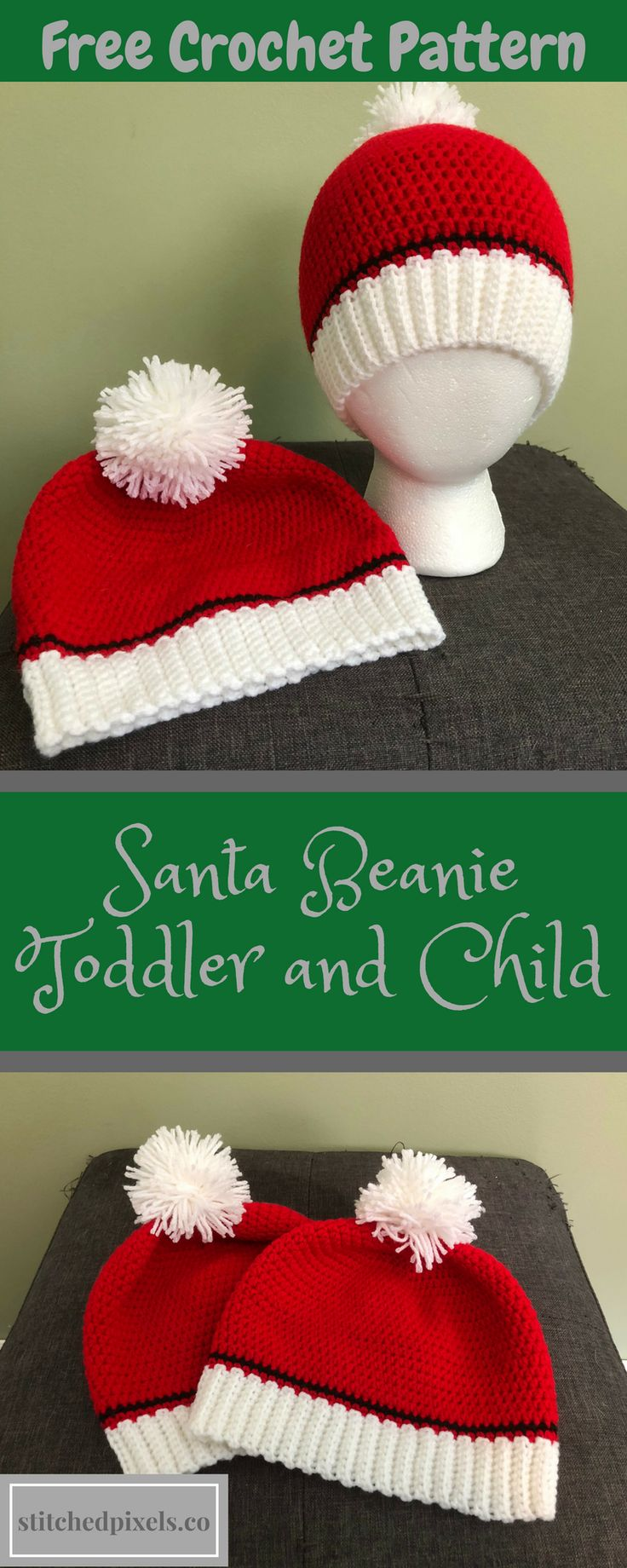 Stay festive this holiday season with this free crochet pattern! Make an adorable Santa Beanie for all the little ones in your life! They work up fast, and are suitable for beginners.