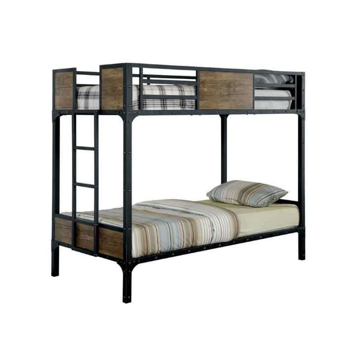 Furniture of America Baron Twin over Twin Bunk Bed in Black