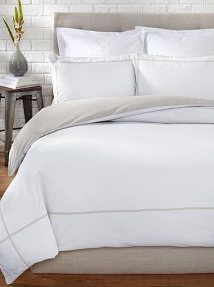 71% OFF OYO Bedding Taped Stone Wash Duvet Set (White/Charcoal)