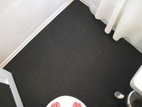 After pretty rubber covered bathroom floor of rental for Inexpensive flooring solutions