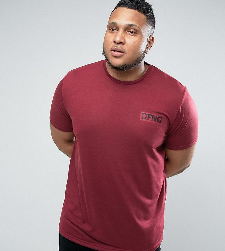 Defend London PLUS T-Shirt In Burgundy With Logo - Red