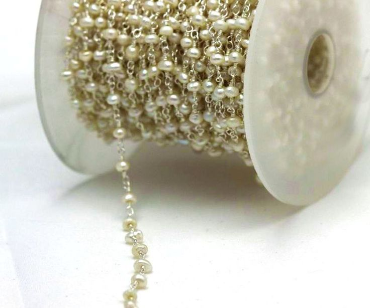 Sale 60% off on 5 feet 2.5 to 3 MM Round Pearl Beads in Silver Plated Rosary…