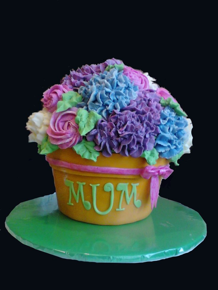 """Mothers day flower pot - I used the """"giant cupcake """" pan for this one, love that pan :D"""