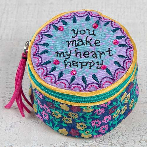 "You Make My Heart Happy Jewelry Round - This Jewelry round is emboidered on the top with ""You Make My Heart Happy"" and is embellished with rhinestones. The inside is lined and features a zippered closure. Roomy satin interior is large enough to store big jewelry pieces and keep your treasures safe"