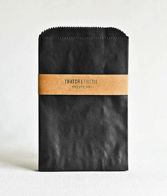 Paper Bags in Solid Black — Thatch & Thistle Supply Co. // Pretty packaging, gift wrapping, crafting and party supplies for gifts, parties, birthdays, showers, weddings and decor. Shop for baker's twine, mini clothespins, paper bags, pom pom garland, paper straws, carnival tickets, specialty twine, stickers and more! // thatchandthistleco.etsy.com