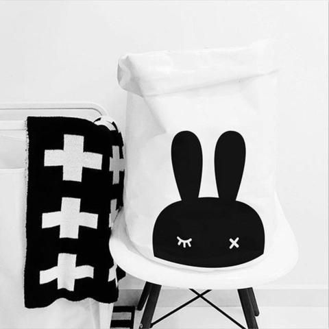 B&W Large Storage Bag Canvas, Laundry Bags, Toys Organizer, Children Baby Home Decor