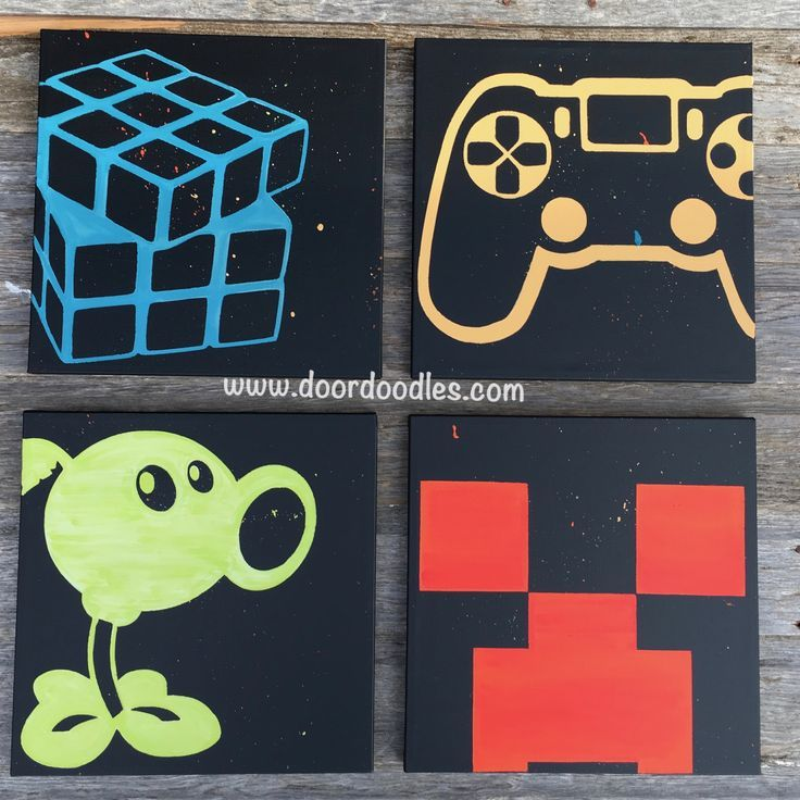 Game room wall decoration, teenage, teenager, gamer, PVZ Plants vs. Zombies, Minecraft Creeper, PS4 Playstation controller, Rubiks Cube, Nintendo Wii, Xbox One, custom canvases