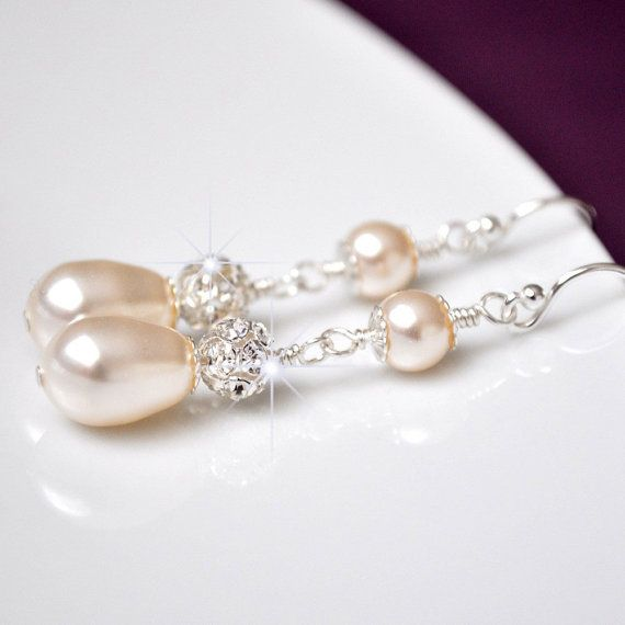 Pearl Rhinestone Bridal Earrings. Vintage Style Wedding Earrings. Ivory Pearl Long Drop Earrings. Wedding Jewellery.