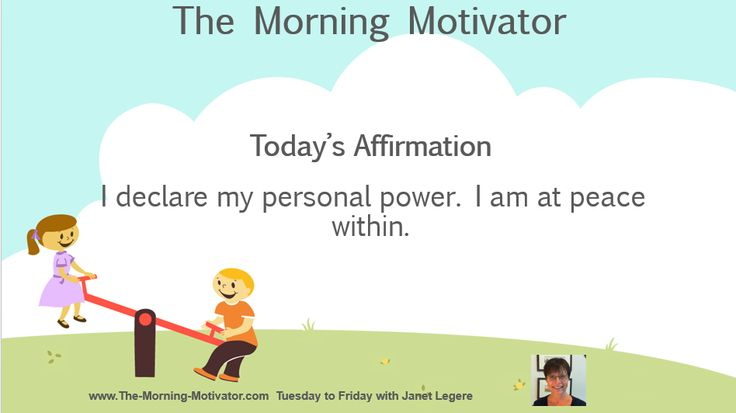 Today's Affirmation: I declare my personal power. I am at peace within.