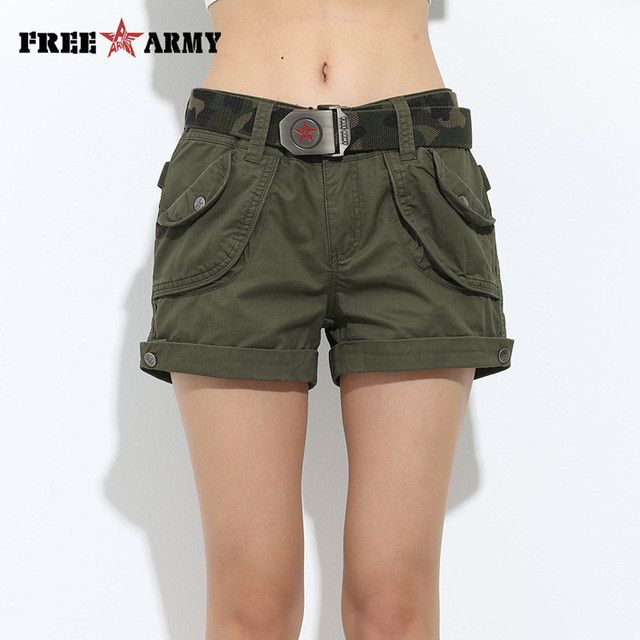 Brand Laides Shorts Women Casual Shorts Loose Pockets Zipper Military Army Green Large Size Summer Ladies Shorts Outdoors GK-952