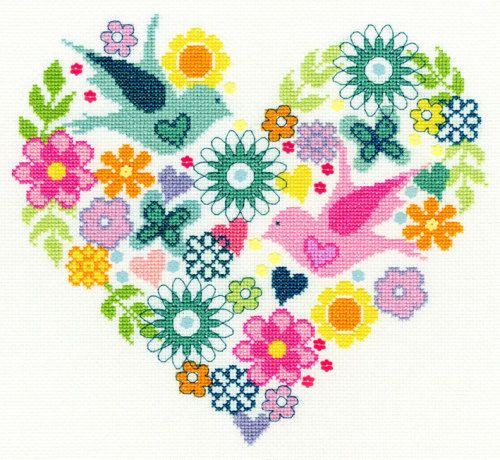 Heart Bouquet cross stitch kit by Bothy Threads