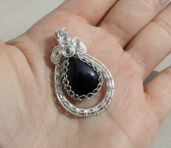 Onyx silver necklace black healing stone by VeraNasfaJewelry
