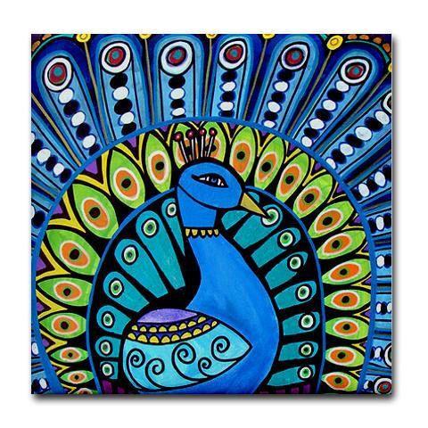 Peacock kunst tegel keramische Coaster Mexicaanse volkskunst Print van de schilderkunst door Heather Galler bird door HeatherGallerArt op Etsy https://www.etsy.com/nl/listing/96815785/peacock-kunst-tegel-keramische-coaster